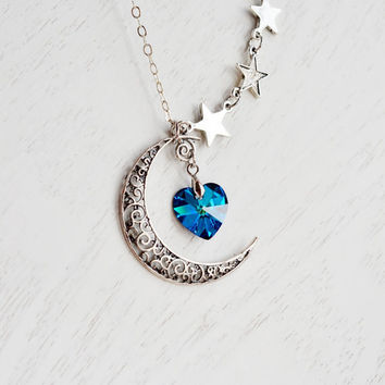 Crescent Moon and Star Necklace,Moon Necklace,Astrology Sign,Rustic Crescent Moon Charm,Swarovski Bermuda Blue Heart,Love You to the Moon