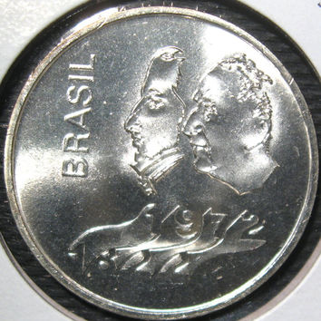 1822 - 1972 Brazil  Brasil 150th Year of Independence Commemorative Silver 20 Cruzeiros Coin Only 502,000 Minted