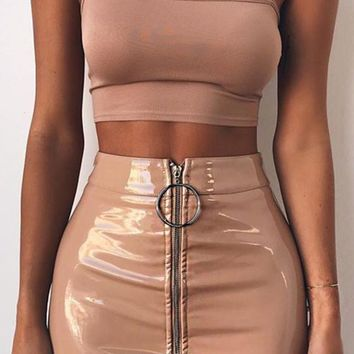 Zip It Beige PU Faux Leather Zipper Front Bodycon Mini Skirt