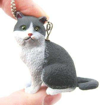 Grey and White Tabby Kitty Cat Animal Plastic Pendant Necklace | Animal Jewelry