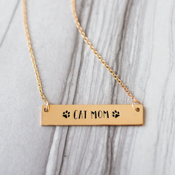 Cat Mom Gold / Silver Bar Necklace