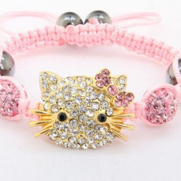 Free shipping!10mm Hotsale Hello Kitty Micro Pave Disco Ball Beads Bangles BCE Crystal Shamballa Bracelet jewelry Christmas Gift