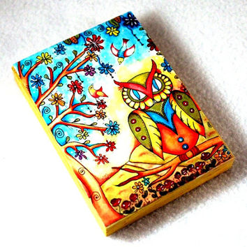 Fridge Magnet, Owl Art Print on Wood Block, Mexican Storybook Wood Art Print, Day of the Dead, ACEO ATC, Yellow Orange Blue