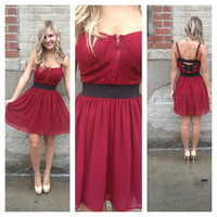Burgundy Lace Bustier Dress