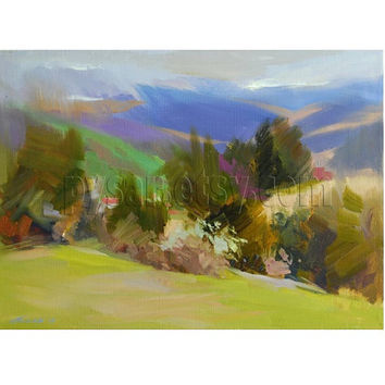 Abstract Landscape Painting - Green Nature Oil Painting - Mountains Spring Painting