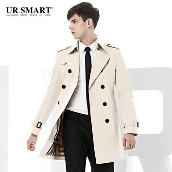 URSMART paragraph double-breasted men fall dust coat grows in men's windbreaker white original authentic trench coat