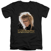 LABYRINTH/JARETH - S/S ADULT V-NECK - BLACK -