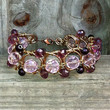 Circular Wire wrapped pink and dark purple swarovski crystal bracelet ,sparkly beaded bracelet