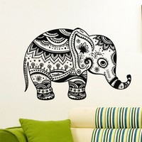 Wall Decal Vinyl Sticker Animal Elephant Yoga Indian Decor Sb1057