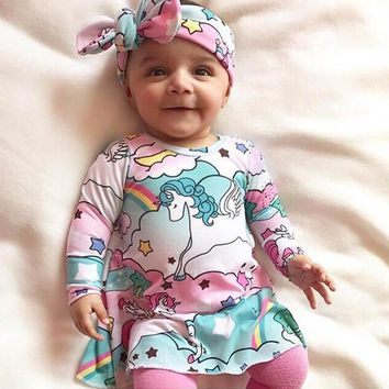 Baby Girls Long Sleeve Unicorn Rainbow Cloud Printed Dress Cute Toddler Newborn Kids Dresses Headband Children Clothing