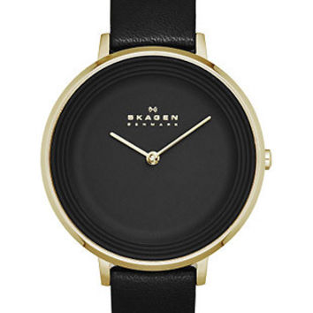 Skagen Womens Ditte Dress Watch - Gold-Tone - Black Dial - Black Leather Strap