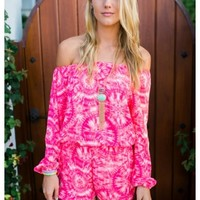 Allison - Pink tie dye of the shoulder playsuit. Available in three colors.