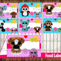 80% OFF SALE Beanie Boo's Food Tent Cards instant download, Printable Beanie Boo Food Labels, Beanie Boo's  Party Table Label