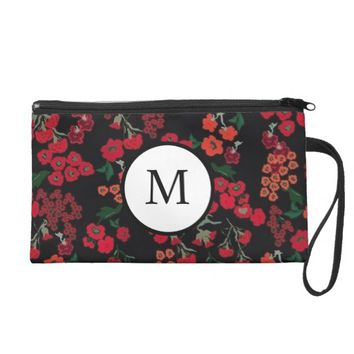 Red Floral Monogram Cosmetic Bag