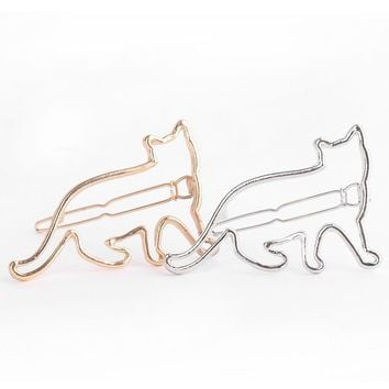 Lovely Cat Hair Clip Cute Animal Hollow Cat Hairclip Hair Pin Silver And Gold