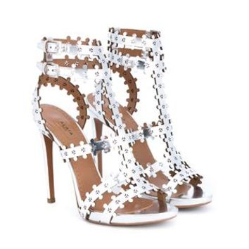 AZZEDINE ALAÏA | Metallic Laser Cut Floral Leather Sandals | Womenswear | Browns Fashion