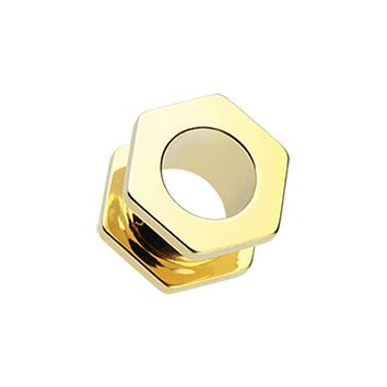Gold PVD Hexa Bolt Screw-Fit Ear Gauge Tunnel WildKlass Plug