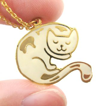 Handmade Sleeping Kitty Cat Shaped Animal Pendant Necklace in White | Limited Edition