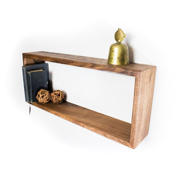Rectangle Hardwood Floating Shelve - Black Walnut wood