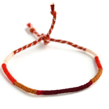Red Friendship Bracelet and Anklet, Dark Red, Bright Red, Cream and Tan Wanderlust Friendship Anklets