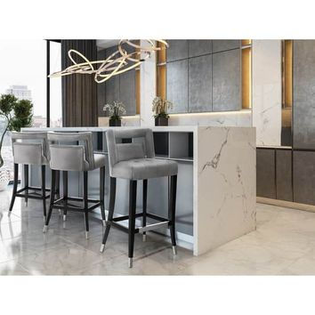 Hart Grey Velvet Counter Stool | Overstock.com Shopping - The Best Deals on Bar Stools
