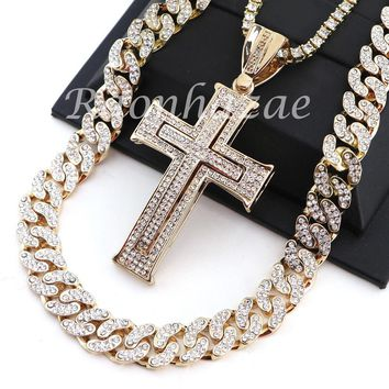 "ICED OUT 14K GOLD PT JESUS CROSS 18"" TENNIS CHAIN 16"" 30"" CHOKER CUBAN CHAIN S25"