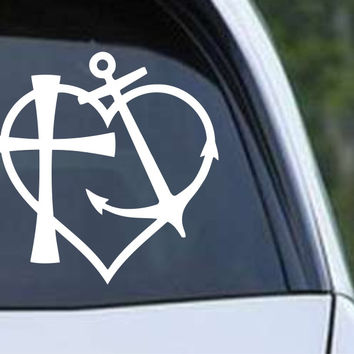 Heart Anchor Cross Die Cut Vinyl Decal Sticker