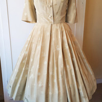 1950s Vintage Gold Silk Shirtwaist Dress
