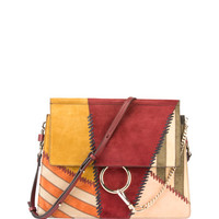 Chloe Faye Medium Colorblock Patchwork Shoulder Bag