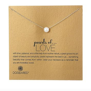 dogeared pearls of love white pearl necklace, gold dipped
