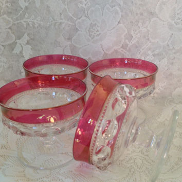 Vintage Tiffin Franciscan Kings Crown Thumbprint Sherbet Glasses Cranberry Flashed Banded Excellent Set of Four