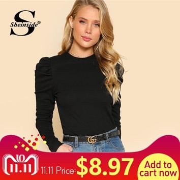 Sheinside Women T-shirt Puff Sleeve Slim Fit Top Rib Knit Tee Shirt Femme 2018 Autumn Shirts Elegant Womens Long Sleeve Tops