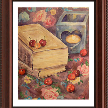 Kitchen Wall Decor - Still life Books & cherries Art Print - Watercolor Painting, Colorful Fine Art, Gorgeous Home decor, Realistic art