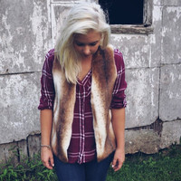 Faux fur vest, made to order. Loose fit style and handmade. Adorable with anything!