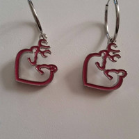 Silver Filled Hoop Earrings with Pink Browning Deer Head Charms Couple Charms Buck and Doe Charms Hunter Hunting Camouflage Camo