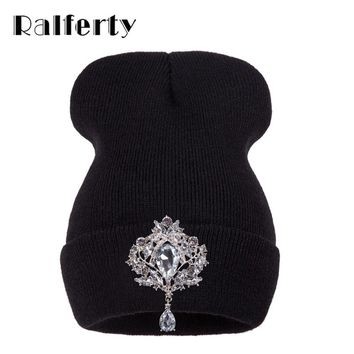 Ralferty Winter Women's Hats Luxury Crystal Accessory Headgear Beanie Hat For Women Caps Female Beanies bonnet femme gorros
