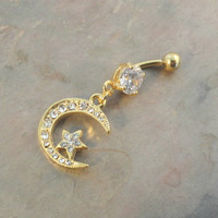 Belly Button Jewelry Ring Gold Crescent Moon and Star
