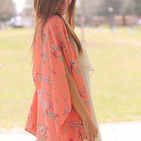 In Full Bloom Cardigan, Coral