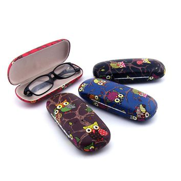 *Cute Owl animal Metal Sunglasses Optical Case Protable PU Hard Eye Glasses Hard Case Eyewear Protector Box