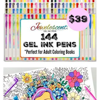 Ultimate Art Set 144 Gel Pens For Adult Coloring Books & More