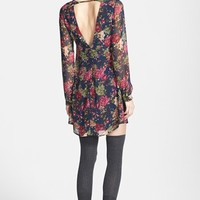 ASTR Open Back Print Chiffon Shift Dress | Nordstrom