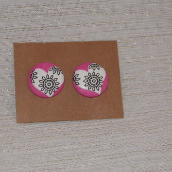 Black and White Hearts on Pink Fabric Covered Button Earrings