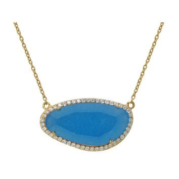 "Gold Plated Sterling Silver Turquoise Slice Stone Pendant Necklace, 16"" + Extension"