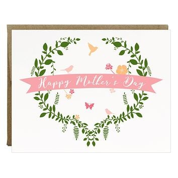 Bird and Flower Garden Happy Mother's Day Card