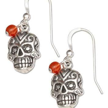 Sterling Silver Mexican Sugar Skull Dangle Earrings With Orange Czech Glass Beads