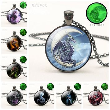 Dragon Pendant Luminous Necklace Fashion Dragon Glass Dome Black Chain Necklace Glow In The Dark Jewelry Handmade Gift for Men