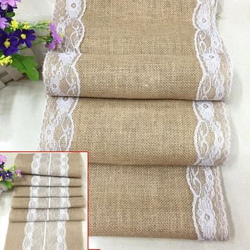 Vintage Burlap Jute Linen Table Runner Lace Cloth Dinning Room Table Gadget Home Decor Accessory HG99