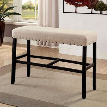 Sania II Rustic Style Bar Bench, Antique Black And Ivory