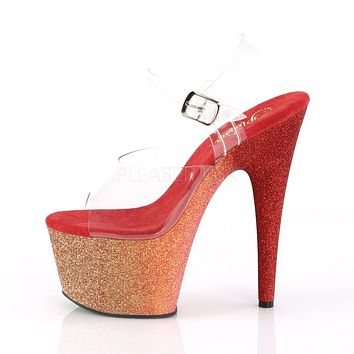 "Adore 708 Ombre Rose Gold Red Glitter Blend Effect Platform 7"" High Heel Shoe"
