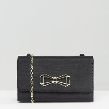 Ted Baker Satin Foldover Clutch Bag With Bow Detail